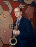 Michael Brecker @ his home, Hastings on Hudson NY, 1998.
